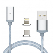 Lightning magnetic charging cable Hoco для Apple U16 Silver